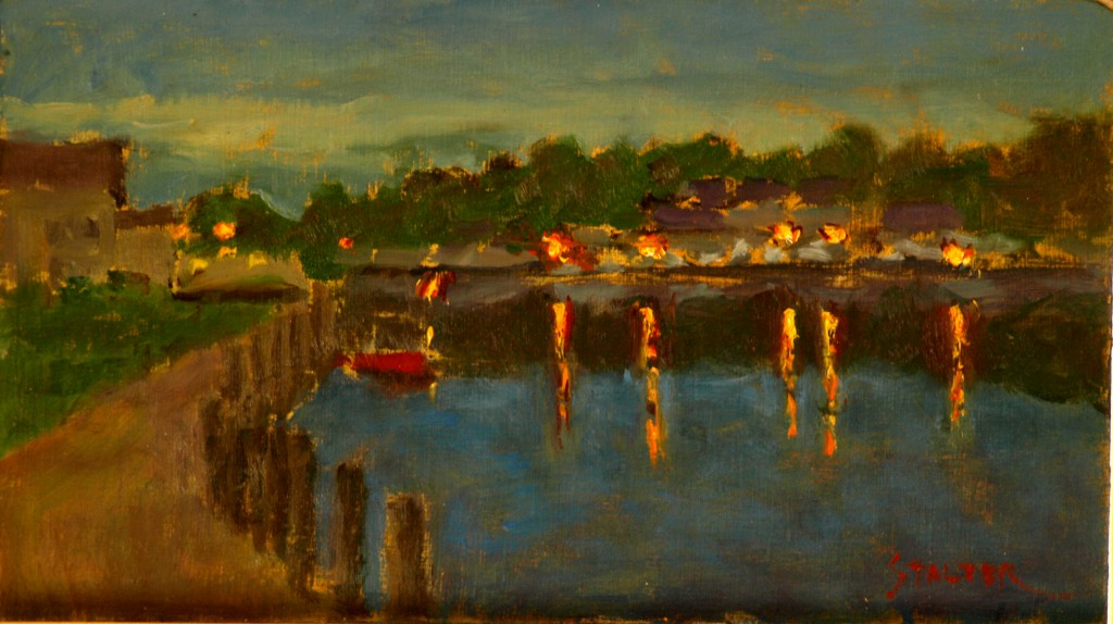 Mystic River - Evening, Oil on Linen on Panel, 8 x 14 Inches, by Richard Stalter, $225