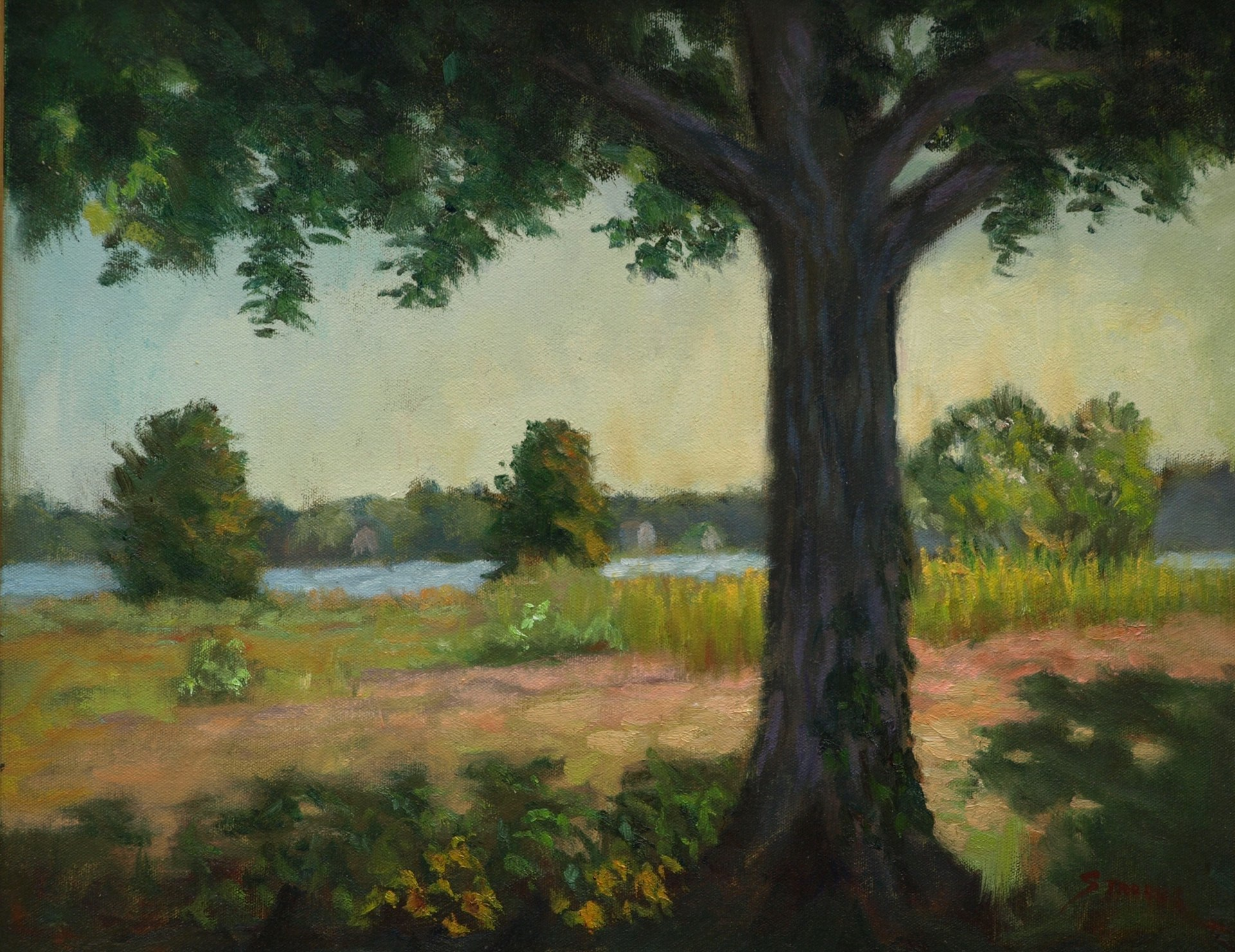 Mystic Riverside, Oil on Canvas, 16 x 20 Inches, by Richard Stalter, $400