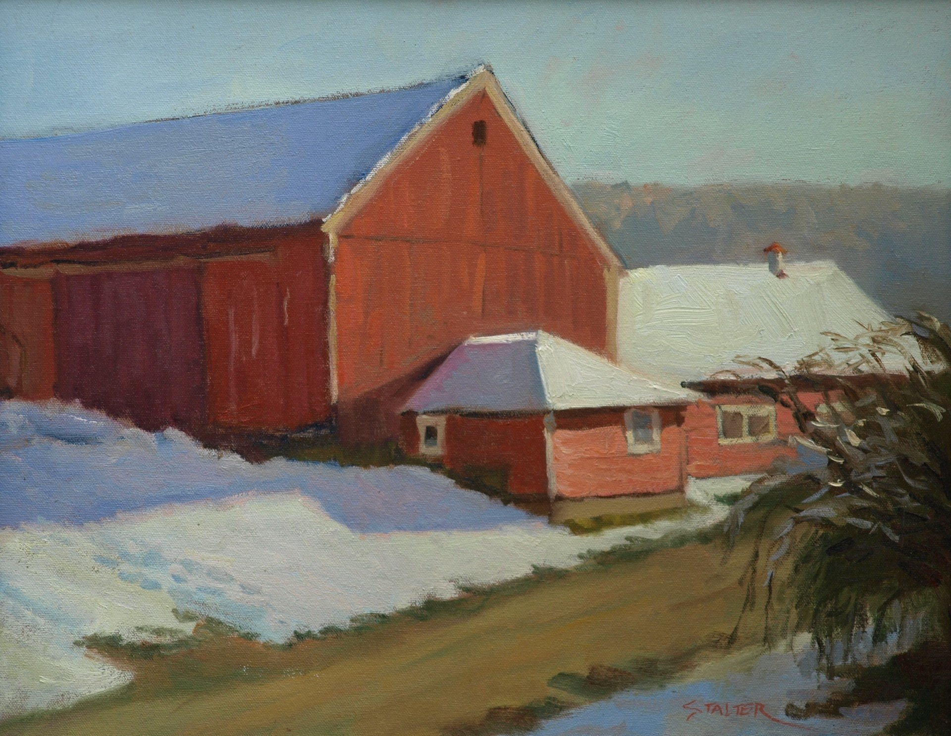 Newton's Barns in Snow, Oil on Canvas, 16 x 20 Inches, by Richard Stalter, $400