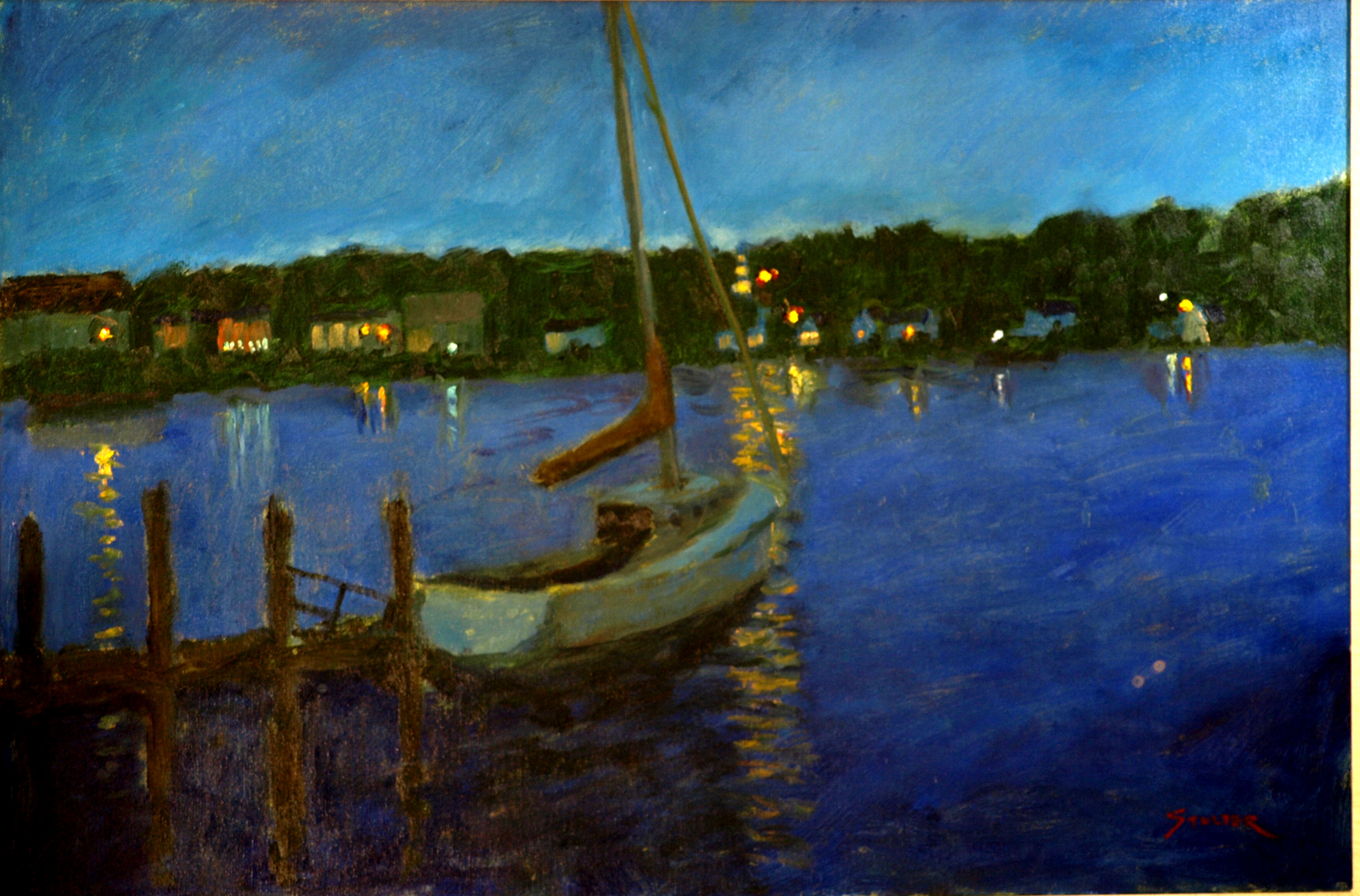 Night - Mystic River, Oil on Canvas, 24 x 36 Inches, by Richard Stalter, $850