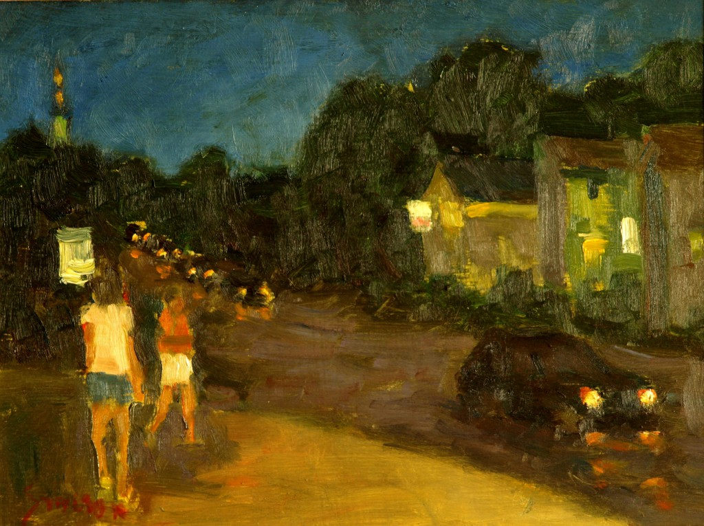 Night in Mystic, Oil on Panel, 9 x 12 Inches, by Richard Stalter, $225
