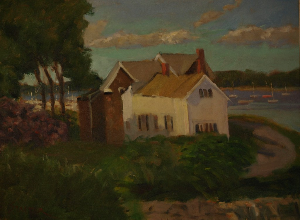 Noank Shoreline, Oil on Canvas, 18 x 24 Inches, by Richard Stalter, $850
