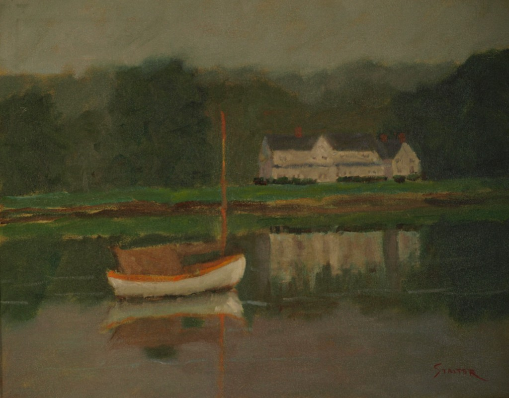 Overcast Day - Mystic River, Oil on Canvas, 18 x 24 Inches, by Richard Stalter, $850
