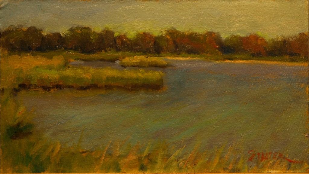 Palmer Pond, Oil on Linen on Panel, 8 x 14 Inches, by Richard Stalter, $225