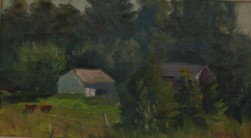 Pasture Near Hillside, Oil on Panel, 8 x 14 Inches, by Richard Stalter, $225
