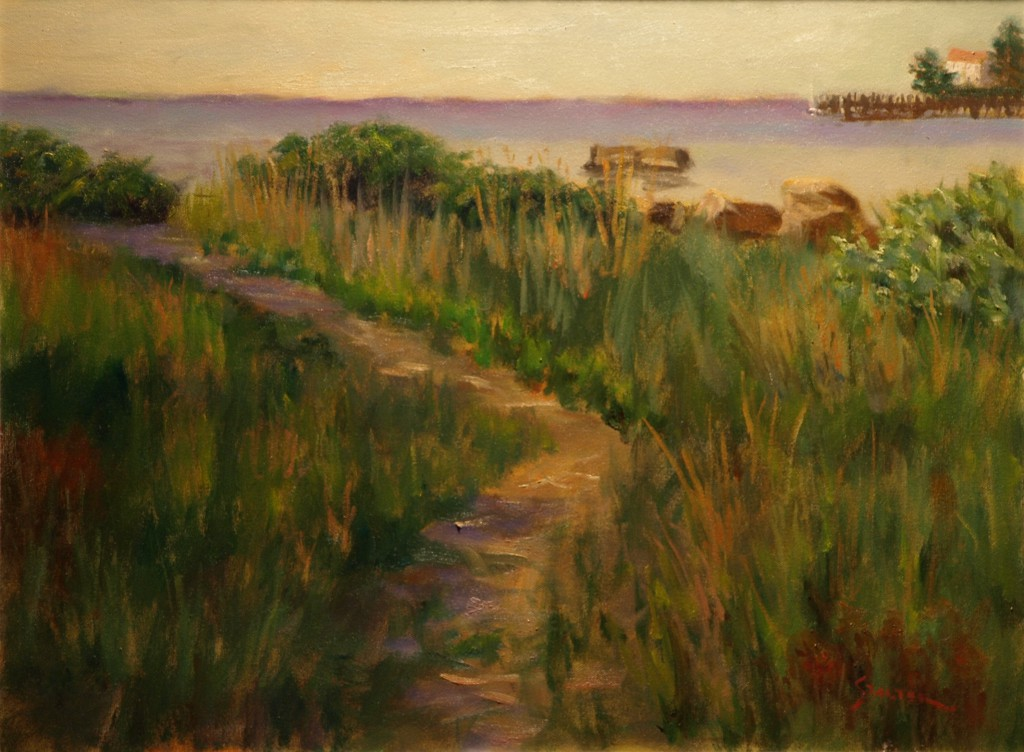 Path to the Bay, Oil on Canvas, 18 x 24 Inches, by Richard Stalter, $650