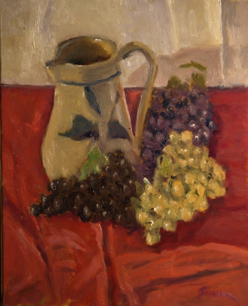 Pitcher and Grapes, Oil on Canvas, 20 x 16 Inches, by Richard Stalter, $400