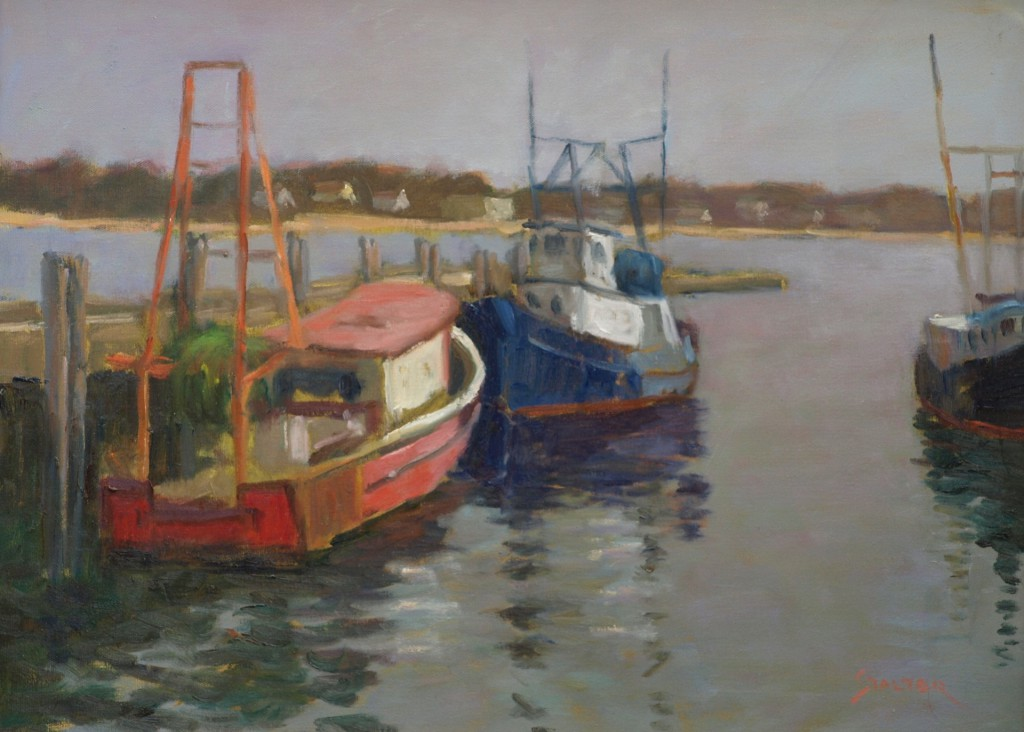 Provincetown Fishing Boats, Oil on Canvas, 18 x 24 Inches, by Richard Stalter, $650