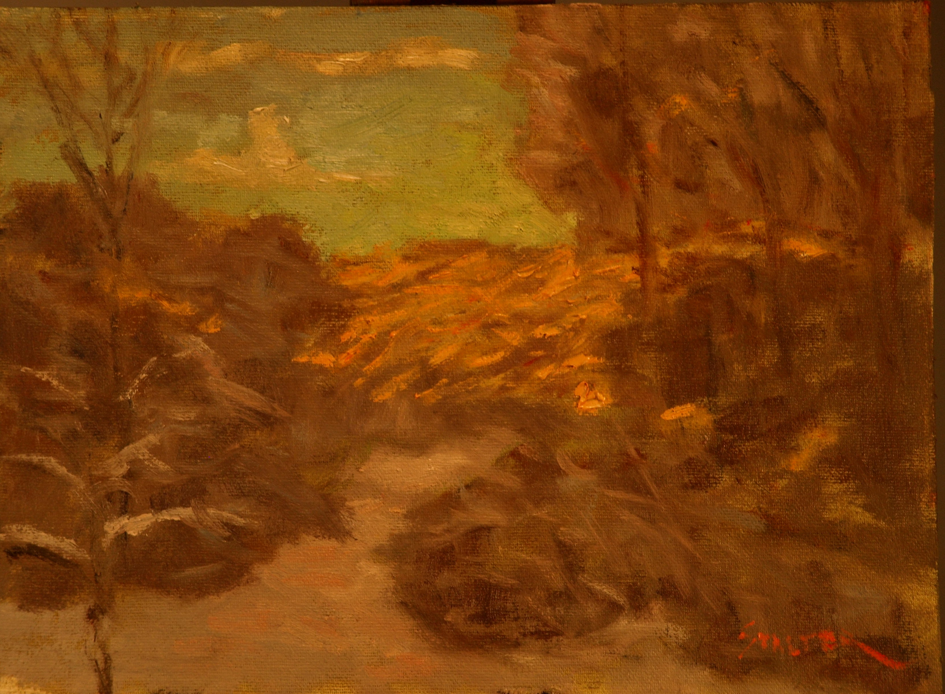 After the Ice Storm, Oil on Canvas on Panel, 9 x 12 Inches, by Richard Stalter, $225