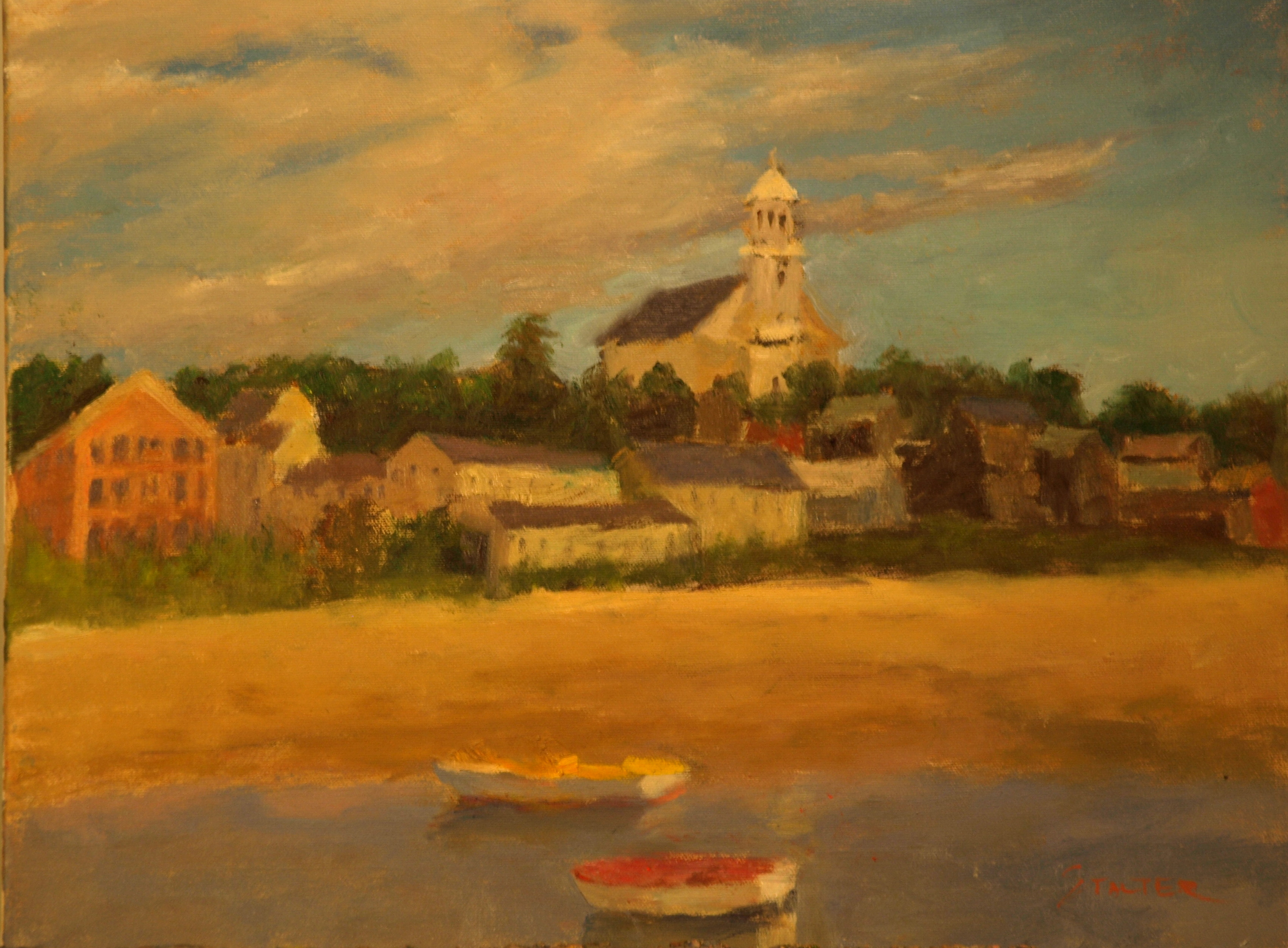 Anchored Rowboats, Oil on Canvas, 16 x 20 inches, by Richard Stalter, $225