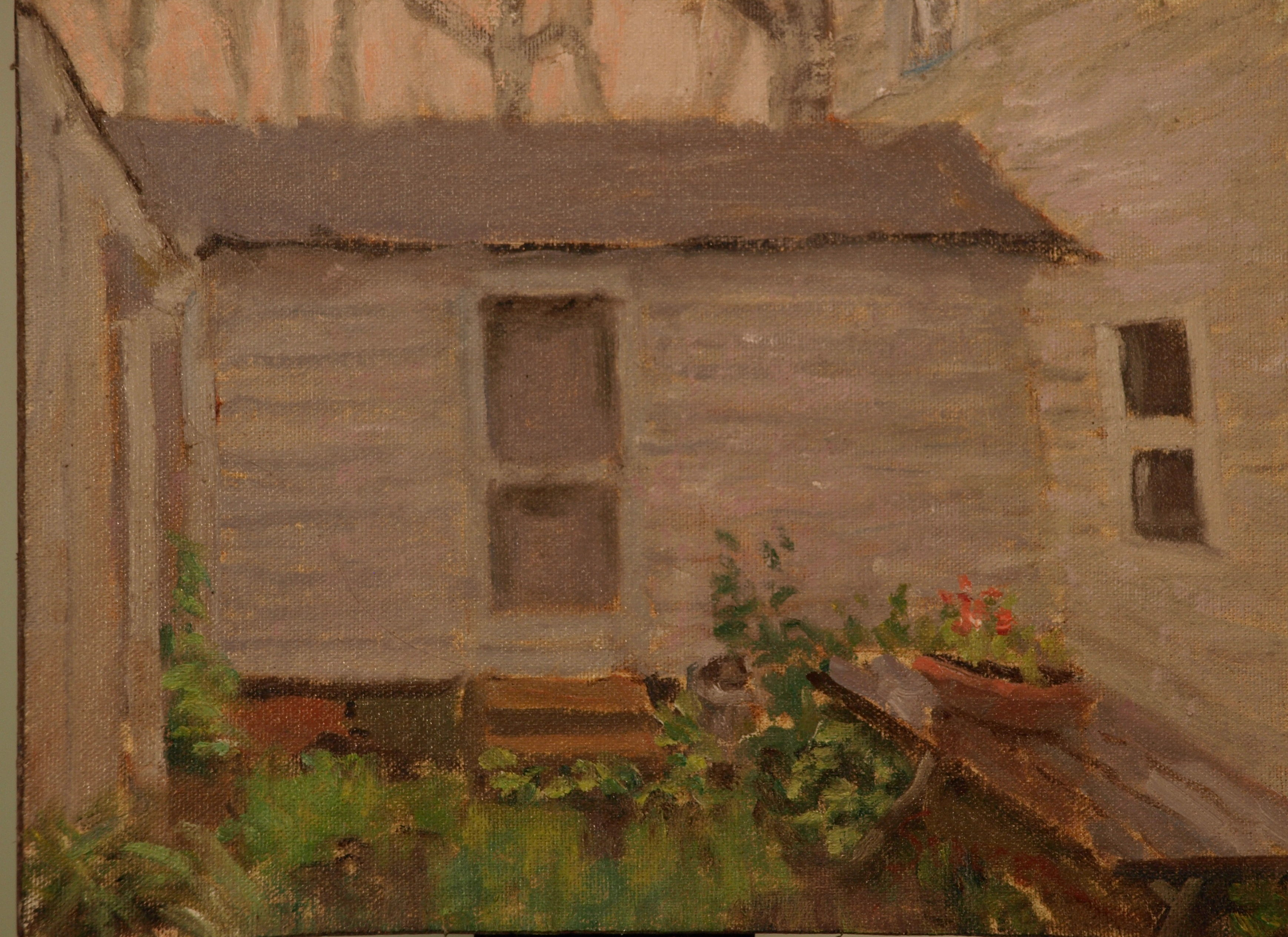 Artist's House - Rain, Oil on Canvas on Panel, 9 x 12 inches, by Richard Stalter, $225