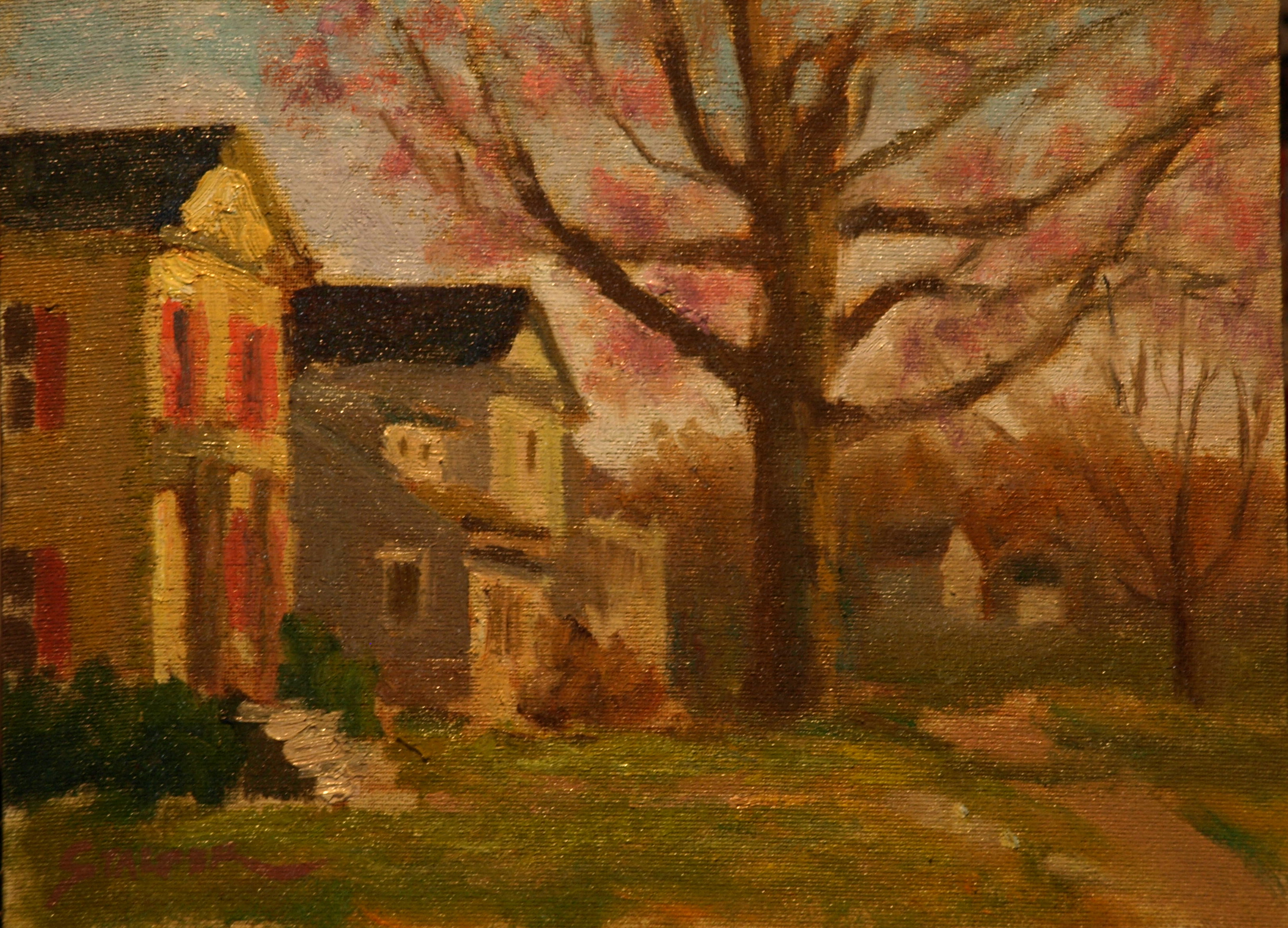 Autumn Along the Green, Oil on Canvas on Panel, 9 x 12 Inches, by Richard Stalter, $225