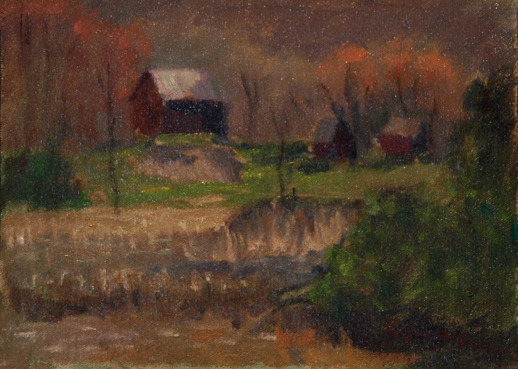 Autumn at Austin's, Oil on Canvas on Panel, 9 x 12 Inches, by Richard Stalter, $225