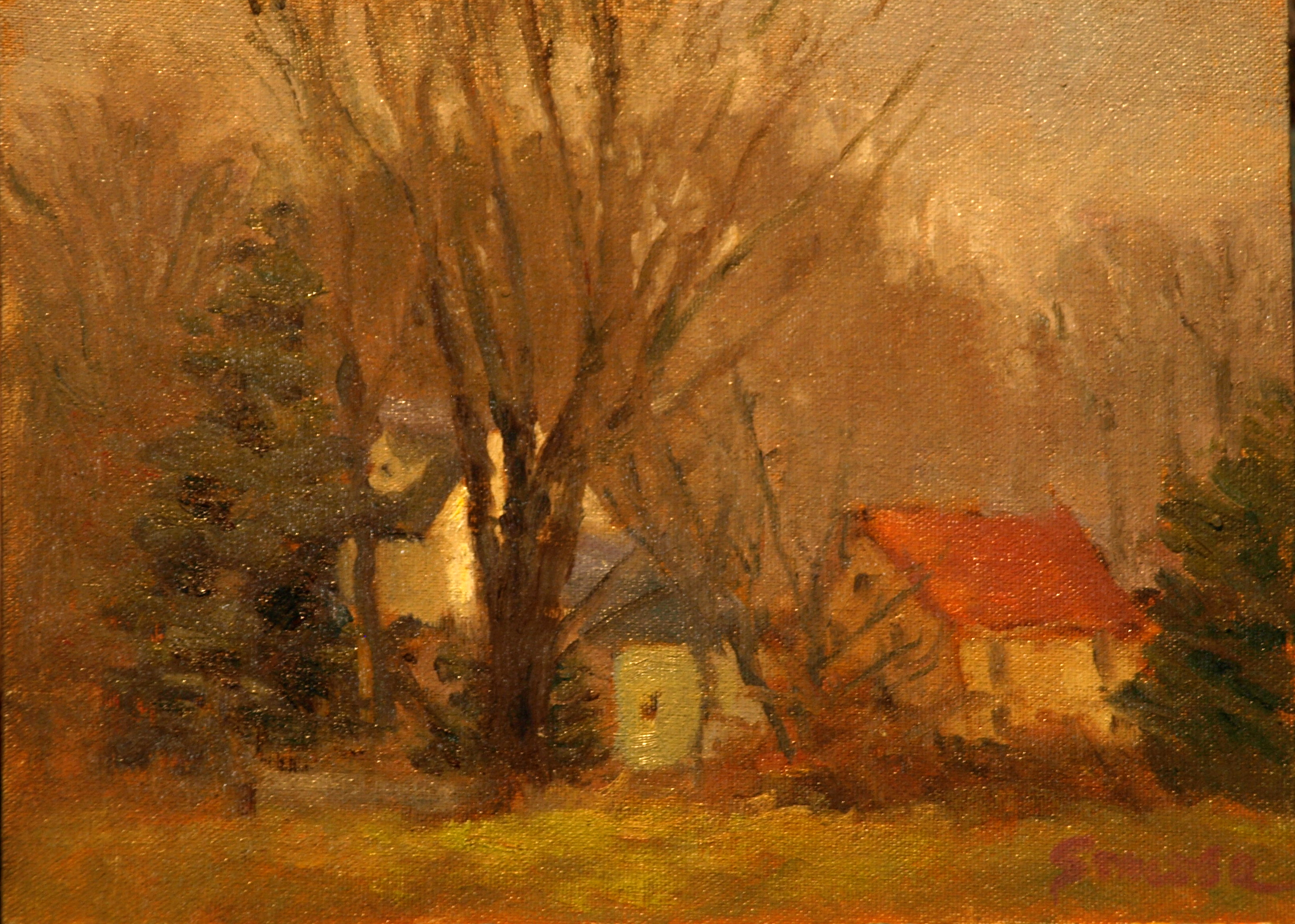 Autumn Haze, Oil on Canvas on Panel, 9 x 12 Inches, by Richard Stalter, $225