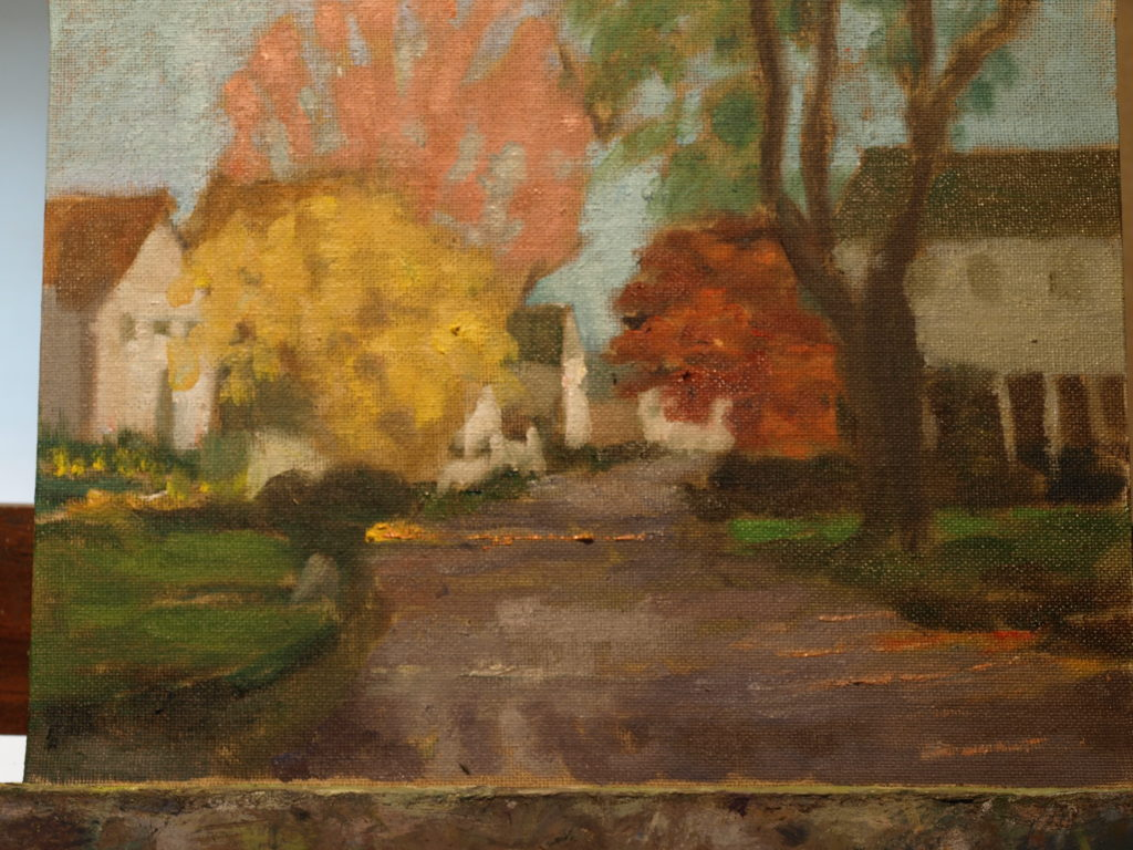 Autumn in Noank, Oil on Canvas on Panel, 9 x 12 Inches, by Richard Stalter, $225
