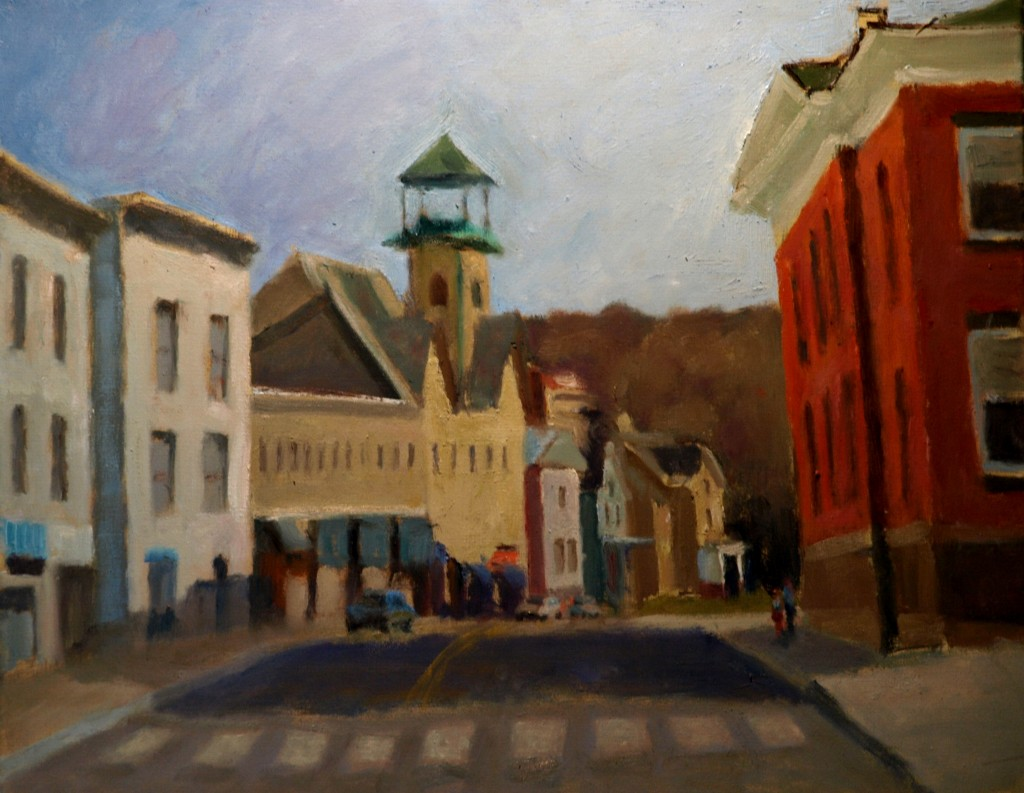 Bank Street, Oil on Canvas, 20 x 24 inches, by Richard Stalter, $650