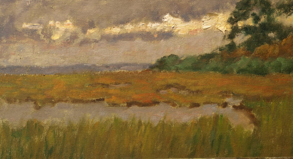 Barn Island and Marshes, Oil on Canvas on Panel, 8 x 14 Inches, by Richard Stalter, $220
