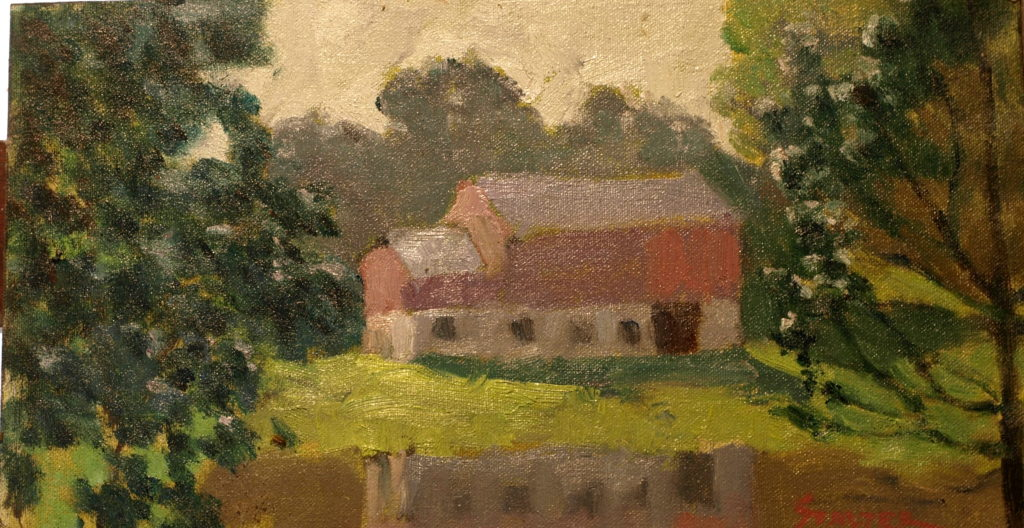 Barn Reflection, Oil on Canvas on Panel, 8 x 14 Inches, by Richard Stalter, $220