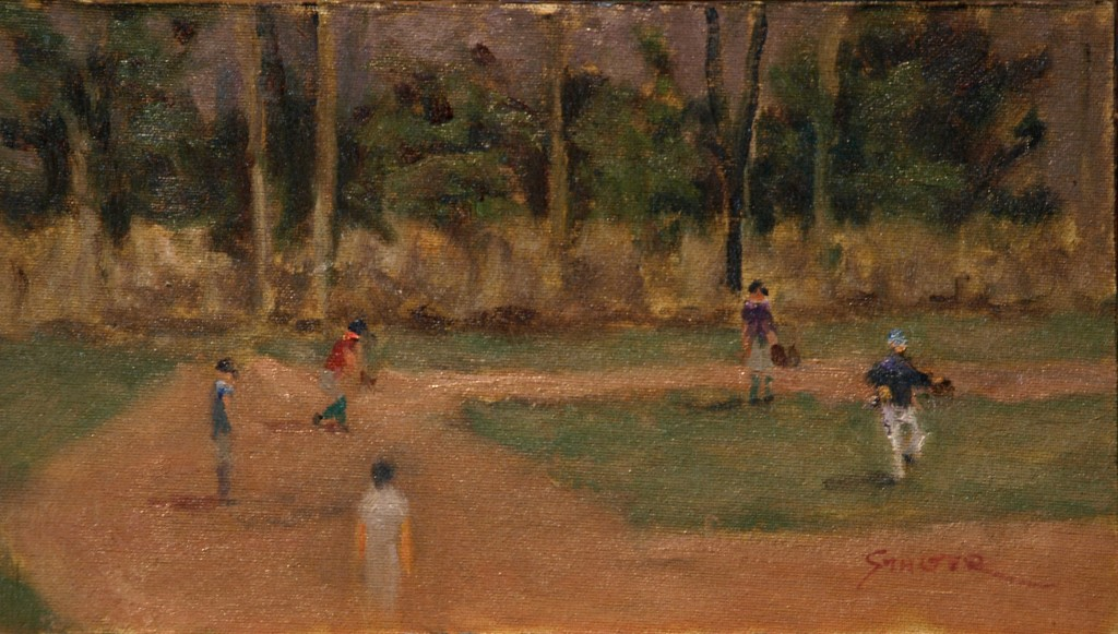Baseball, Oil on Canvas on Panel, 8 x 12 Inches, by Richard Stalter, $225