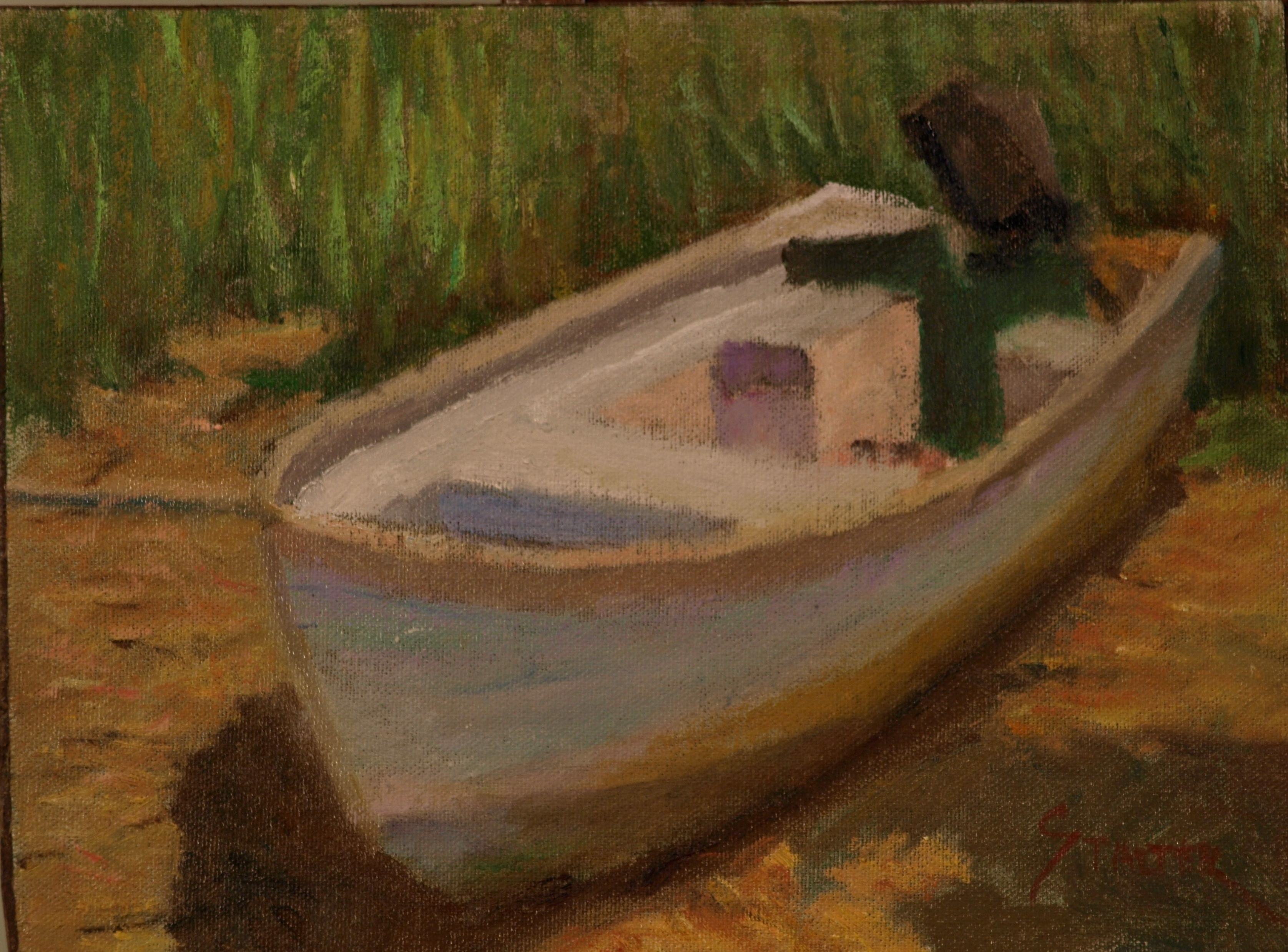 Beached Dory, Oil on Canvas on Panel, 9 x 12 inches, by Richard Stalter, $225
