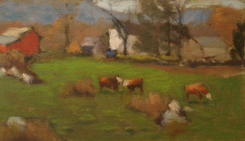 Bill Newton Farm, Oil on Canvas on Panel, 8 x 14 Inches, by Richard Stalter, $225