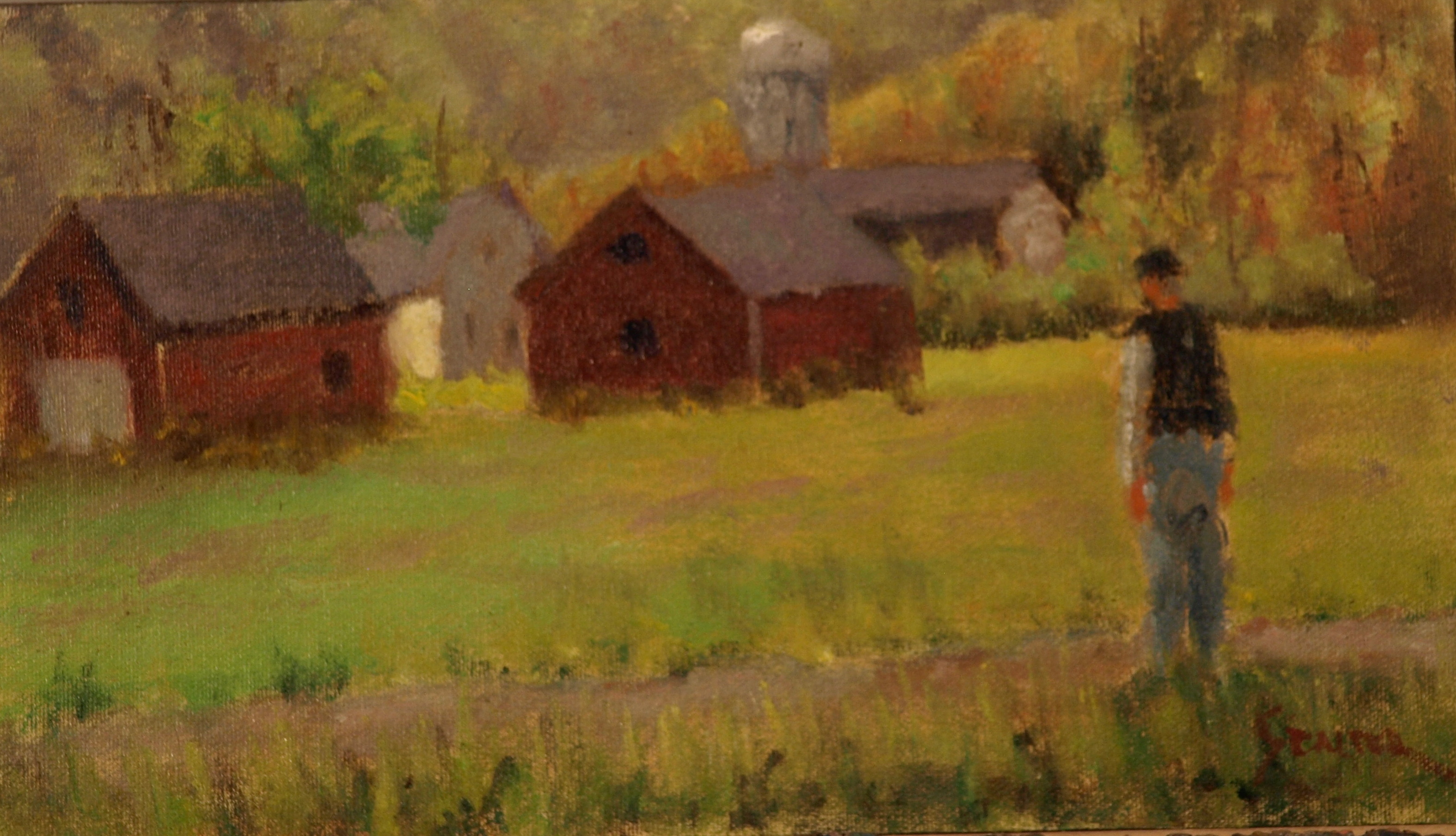 Bill Newton's, Oil on Canvas on Panel, 8 x 14 inches, by Richard Stalter, $225