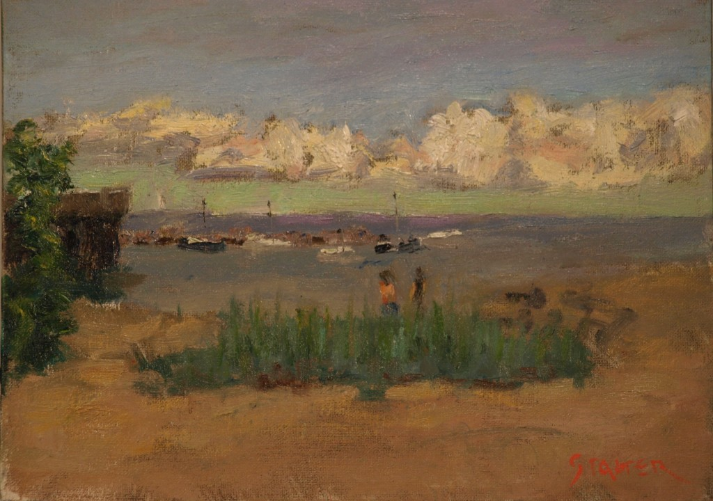 Boats off Provincetown Beach, Oil on Canvas on Panel, 9 x 12 inches, by Richard Stalter, $225