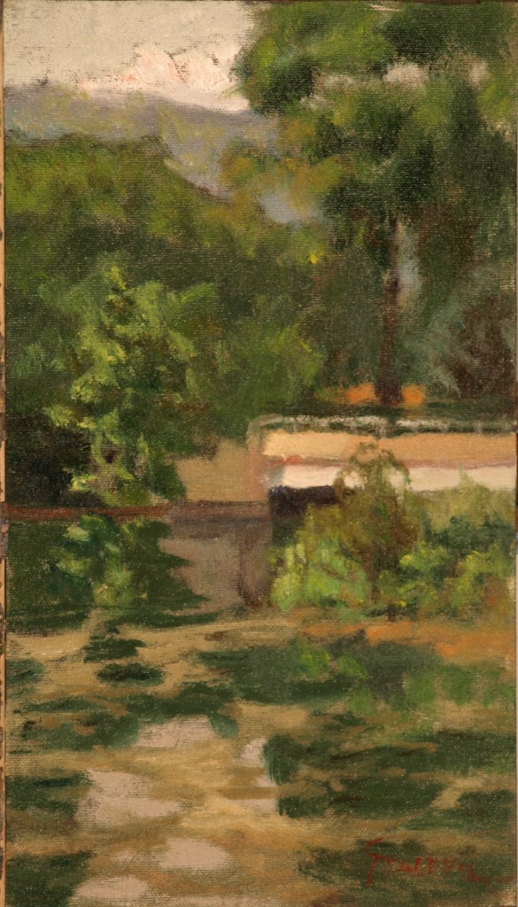 Bridge at Bull's Bridge Canal, Oil on Canvas on Panel, 14 x 8 Inches, by Richard Stalter, $225