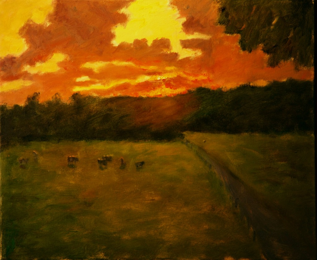 Brilliant Sunset - Cow Pasture, Oil on Canvas, 20 x 24 Inches, by Richard Stalter, $650