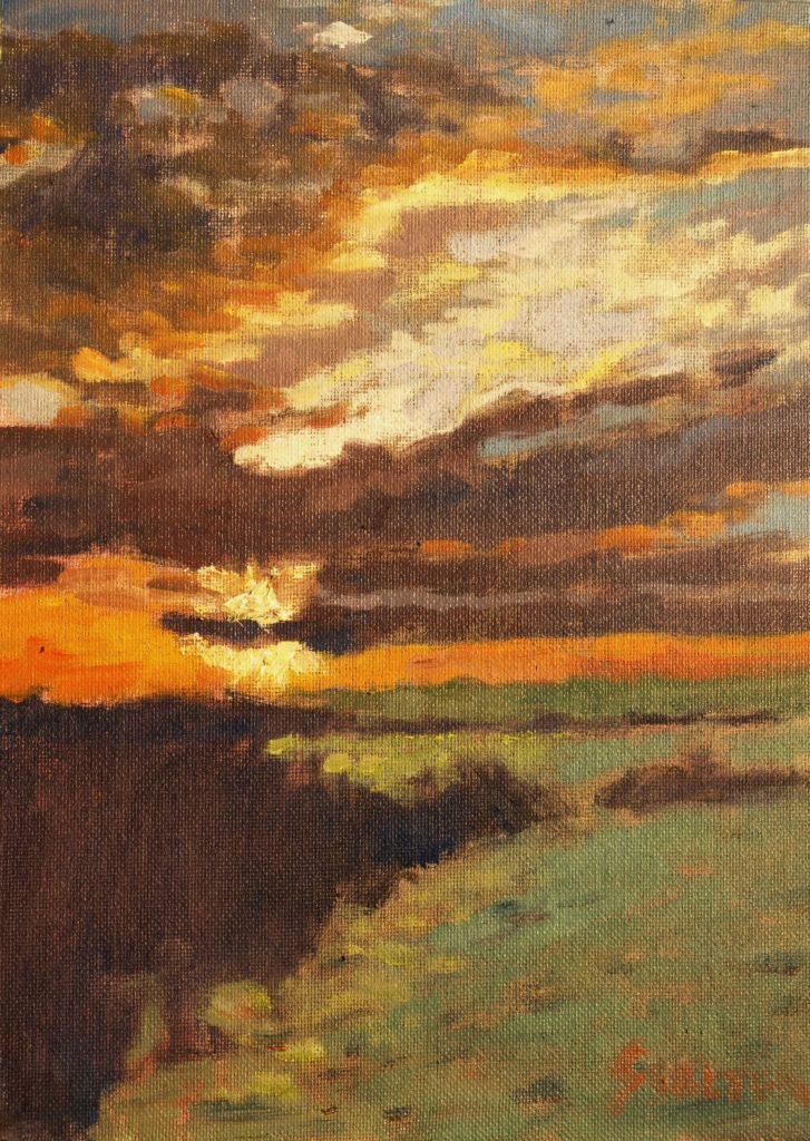 Brilliant Sunset, Oil on Canvas on Panel, 12 x 9 Inches, by Richard Stalter, $225