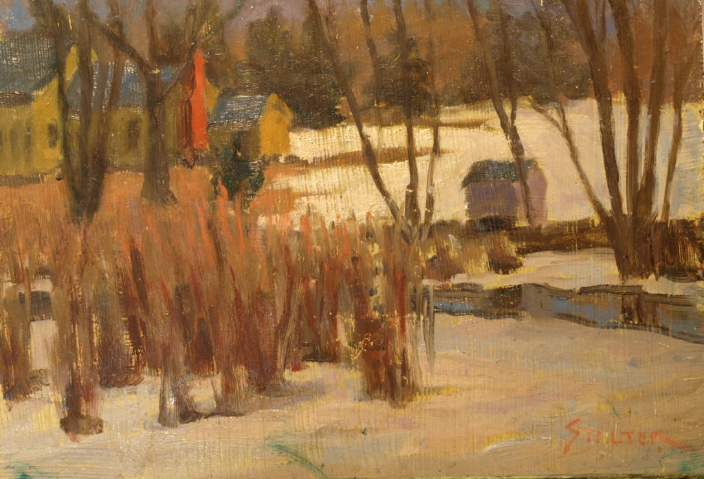 Brush in the Snow, Oil on Canvas on Panel, 9 x 12 Inches, by Richard Stalter, $220