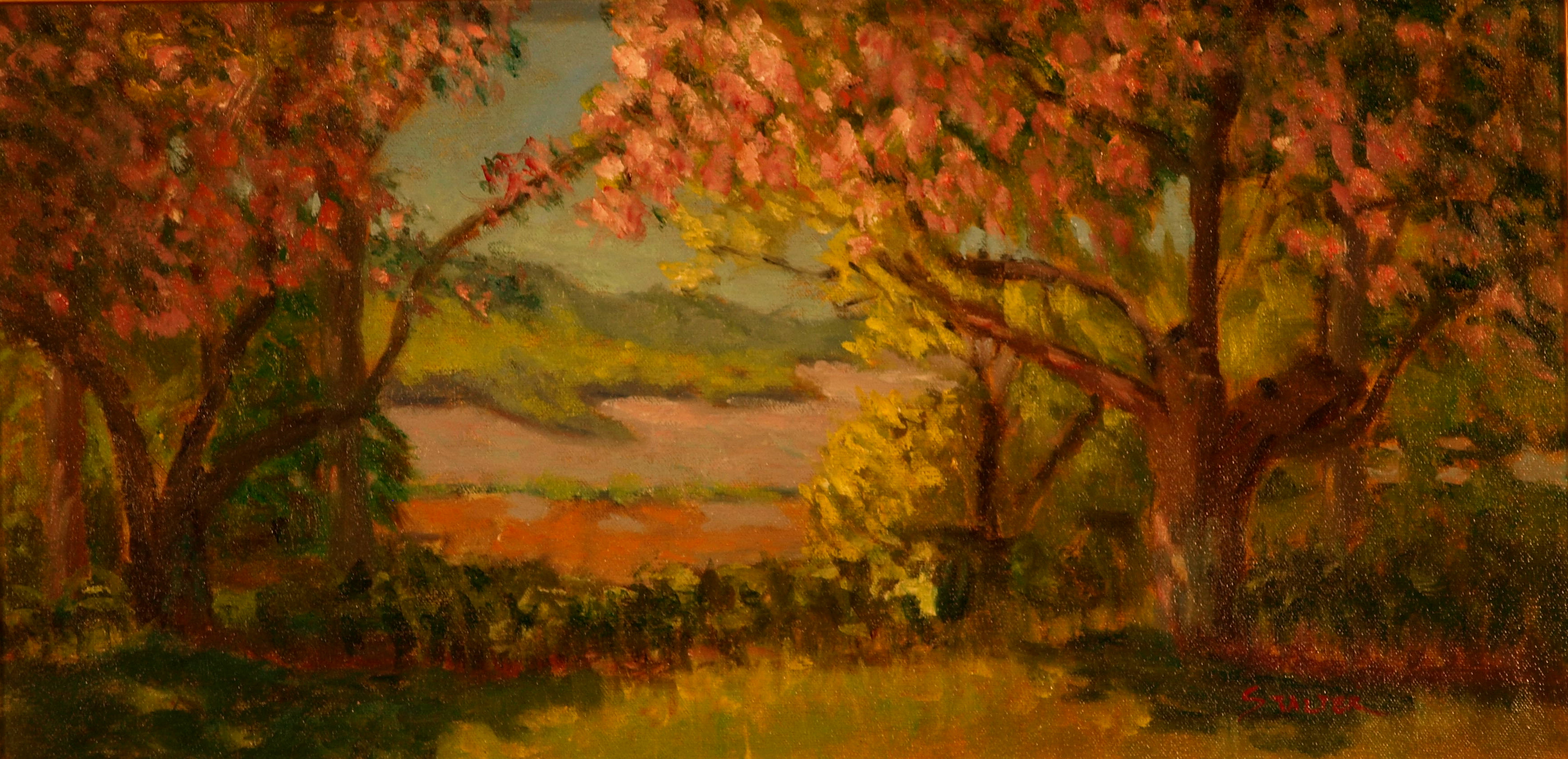 Cherry Blossoms along the Hudson, Oil on Canvas, 12 x 24 Inches, by Richard Stalter, $450