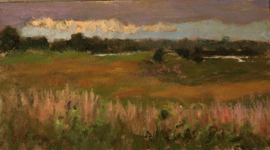 Coming Wild Storm, Oil on Canvas on Panel, 8 x 14 Inches, by Richard Stalter, $225