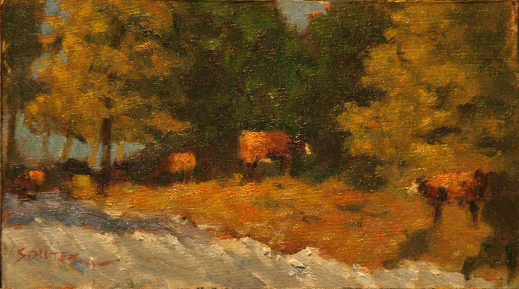 Cows Along the Ridge, Oil on Canvas on Panel, 8 x 14 Inches, by Richard Stalter, $225