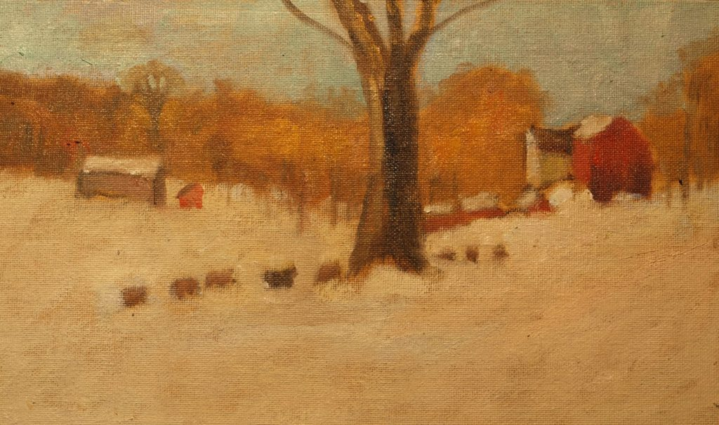 Cows Trailing Home, Oil on Canvas on Panel, 8 x 14 Inches, by Richard Stalter, $225