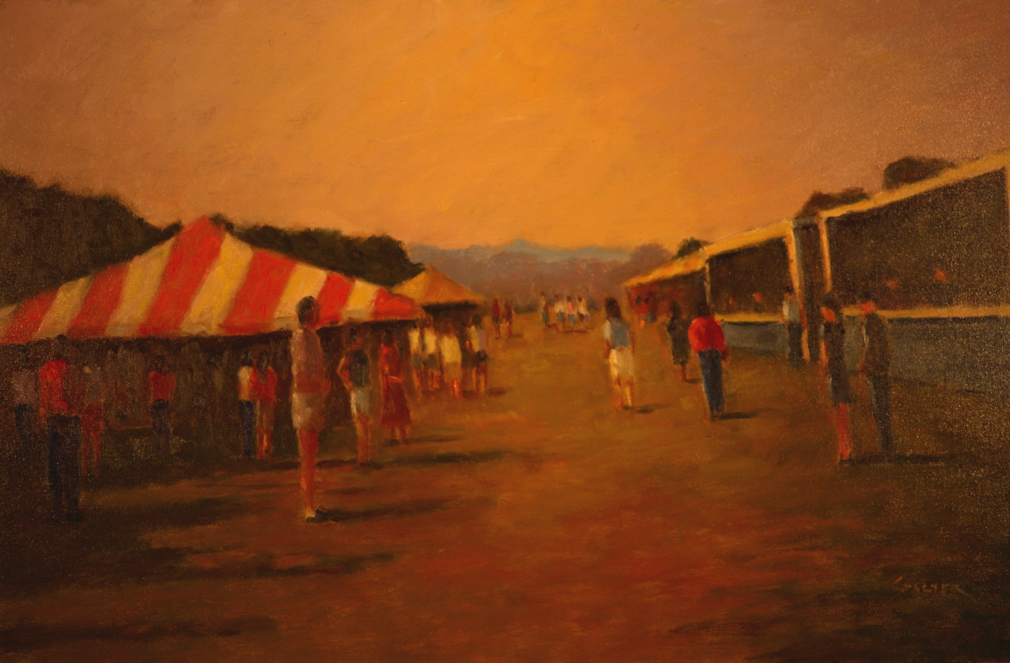 Crowds at the Fair, Oil on Canvas, 24 x 36 Inches, by Richard Stalter, $1200