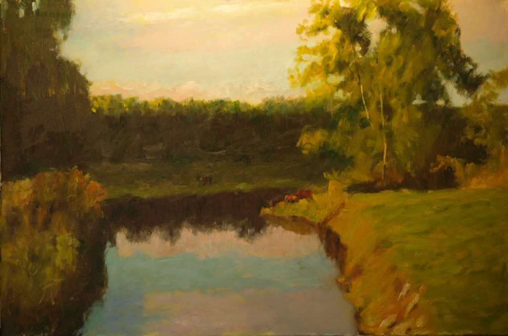 Distant Cows, Oil on Canvas, 24 x 36 Inches, by Richard Stalter, $1200