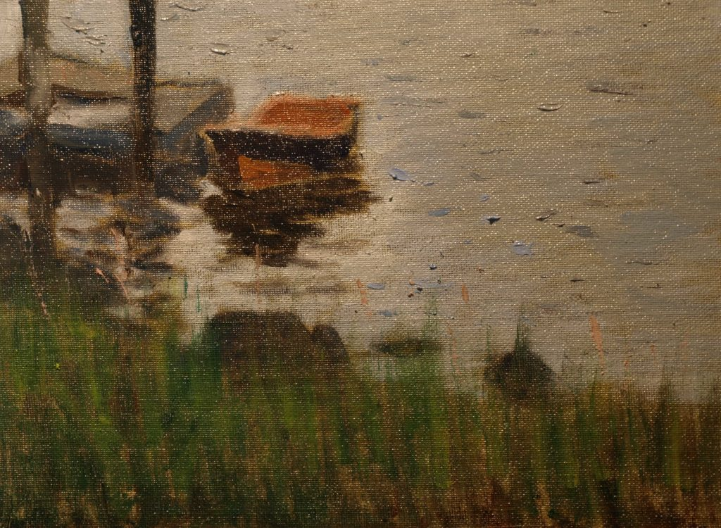 Dockside Rowboat, Oil on Canvas on Panel, 9 x 12 Inches, by Richard Stalter, $225