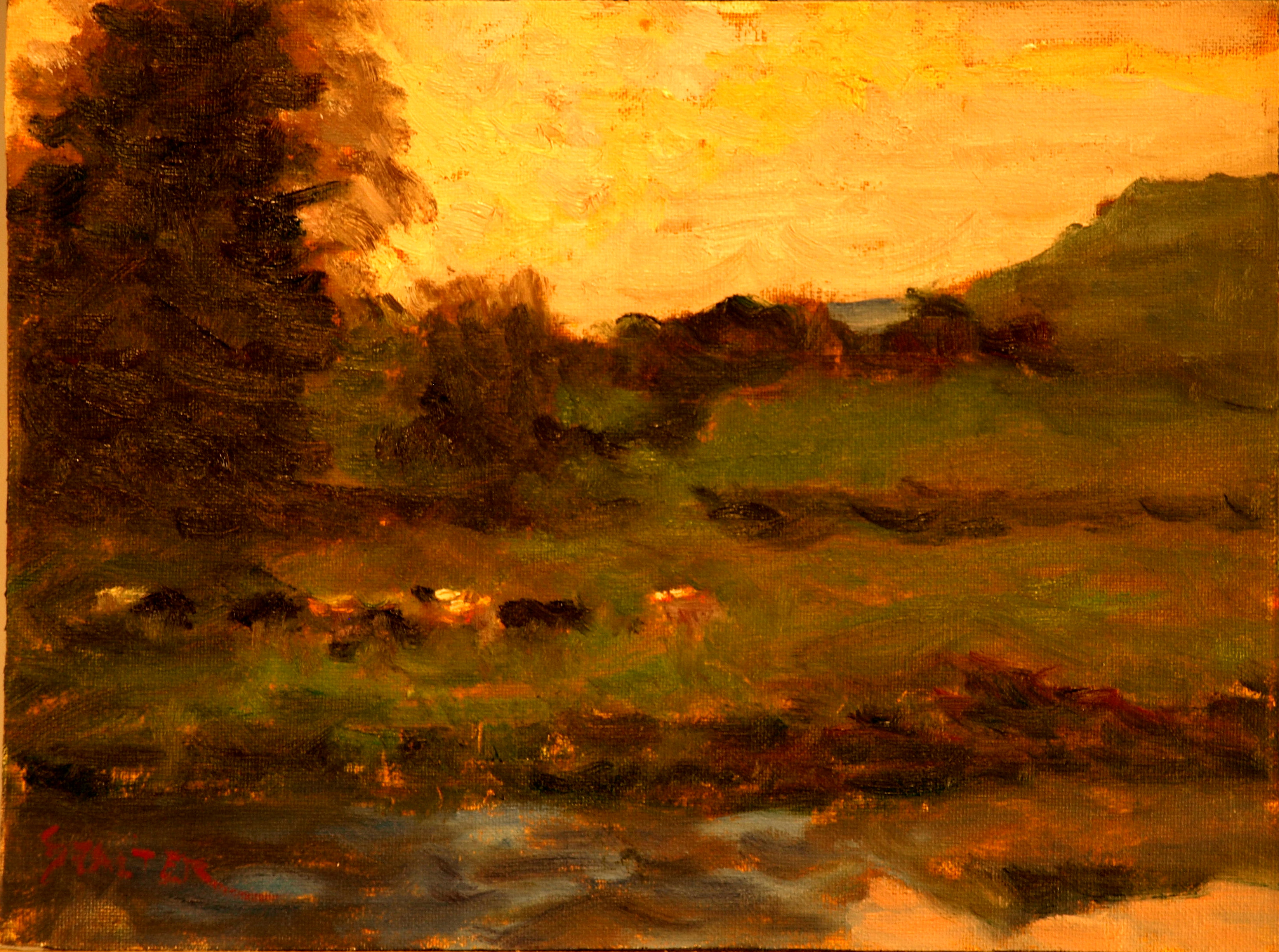 Evening - Summer Pasture, Oil on Canvas on Panel, 9 x 12 Inches, by Richard Stalter, $225