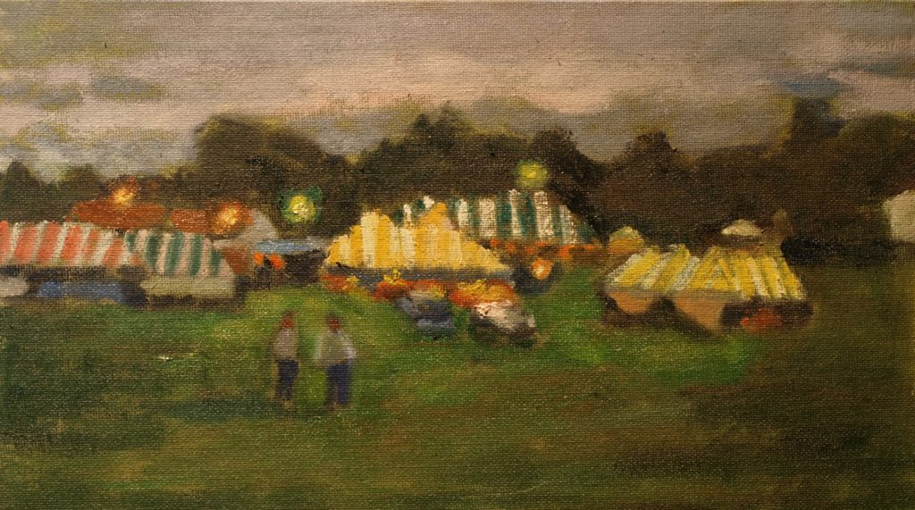 Evening, Bridgewater Fair, Oil on Canvas on Panel, 8 x 14 Inches, by Richard Stalter, $225