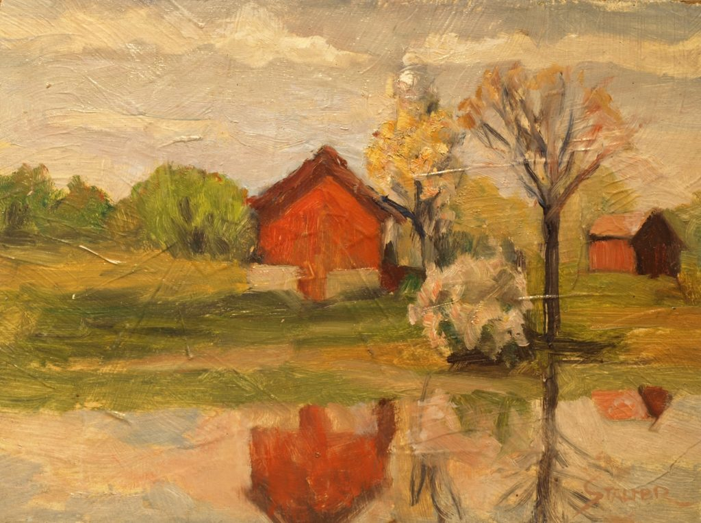 Farm Across the River, Oil on Panel, 9 x 12 Inches, by Richard Stalter, $225