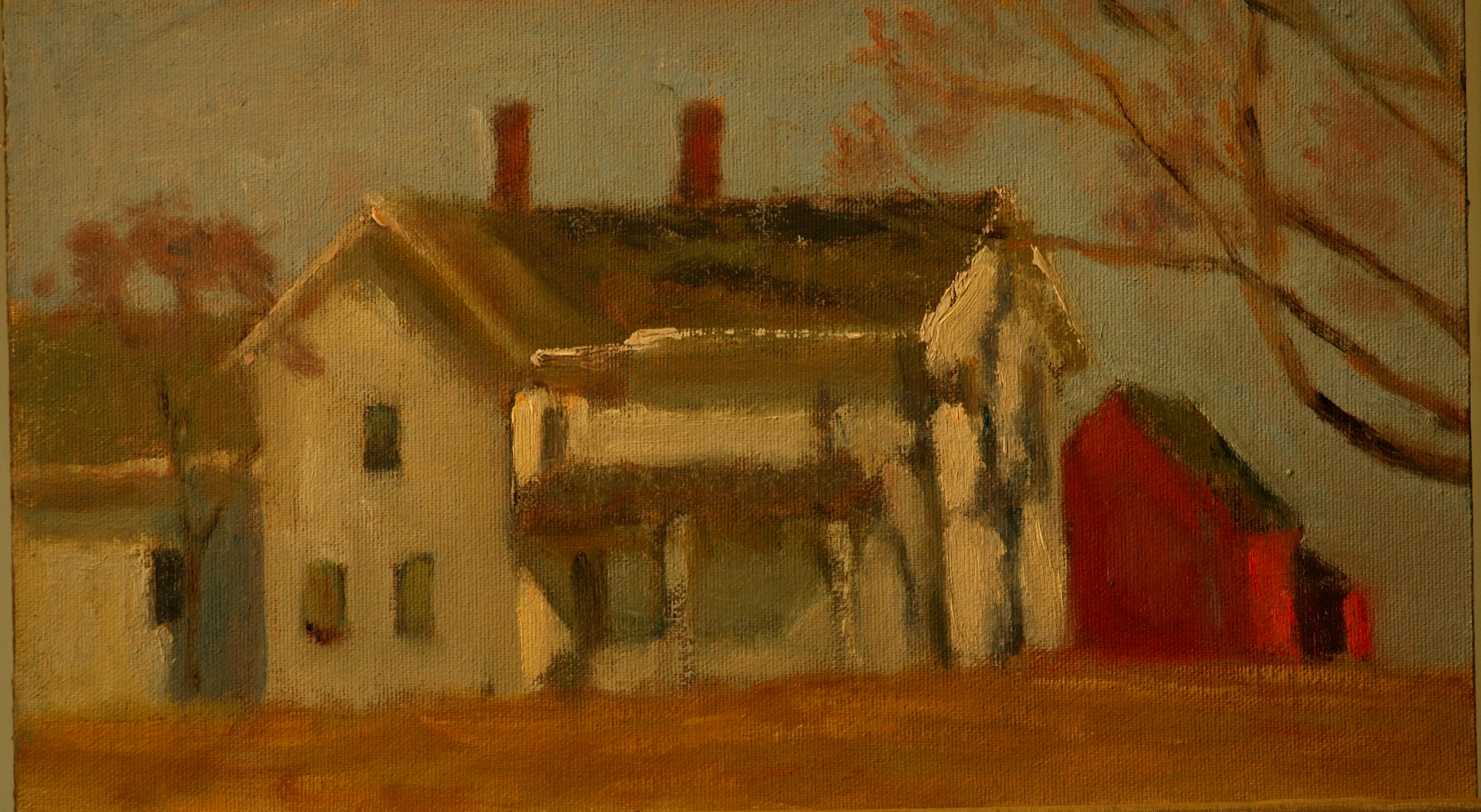 Farm Buildings at Marvelwood, Oil on Canvas on Panel, 8 x 14 Inches, by Richard Stalter, $225