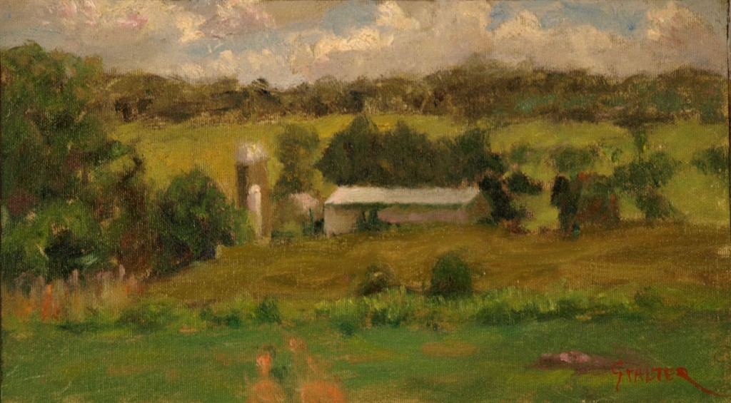 Farm near Amenia Union, Oil on Canvas on Panel, 8 x 14 Inches, by Richard Stalter, $225