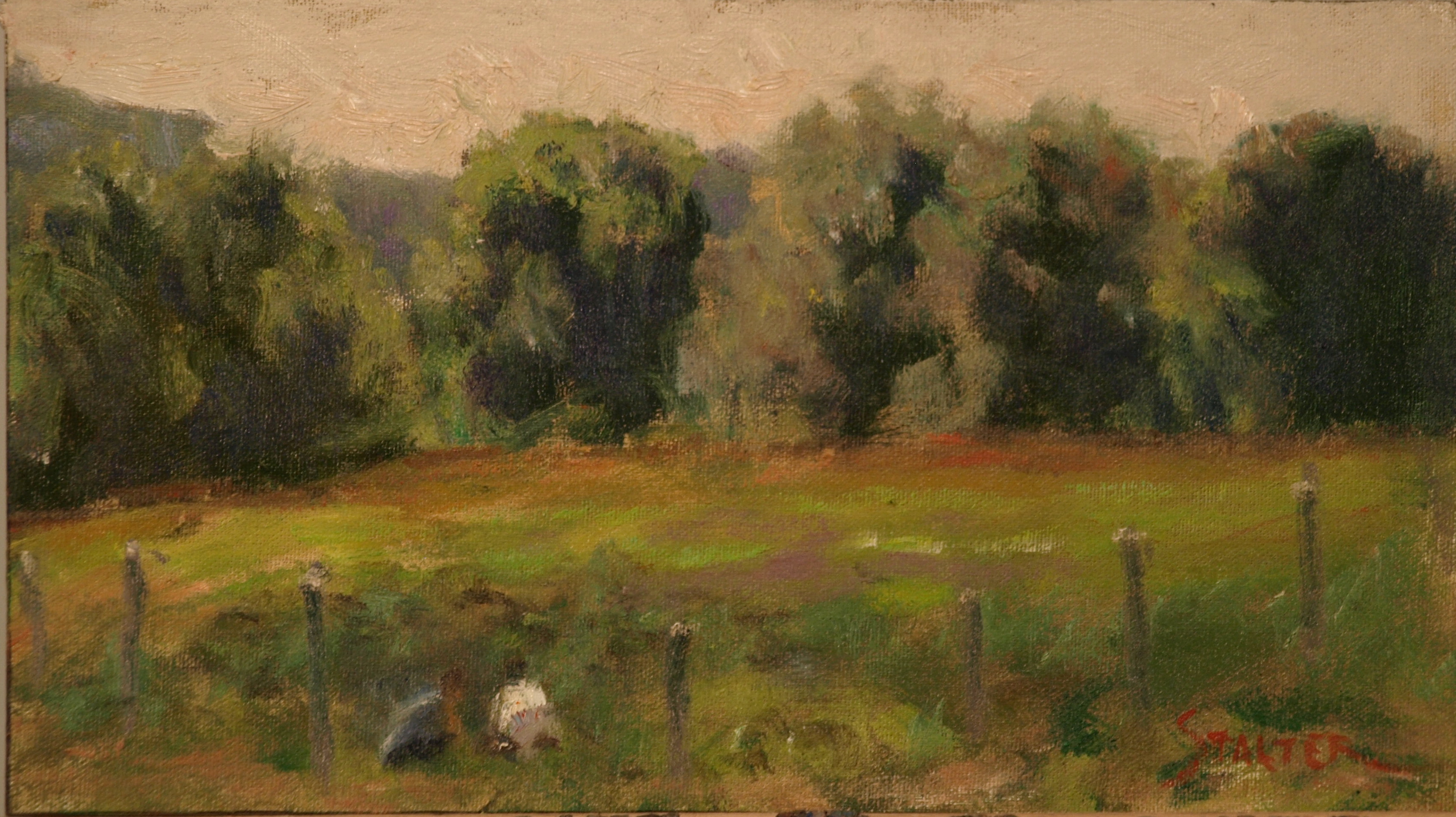 Field Workers -- Sullivan Farm, Oil on Canvas on Panel, 8 x 14 Inches, by Richard Stalter, $225