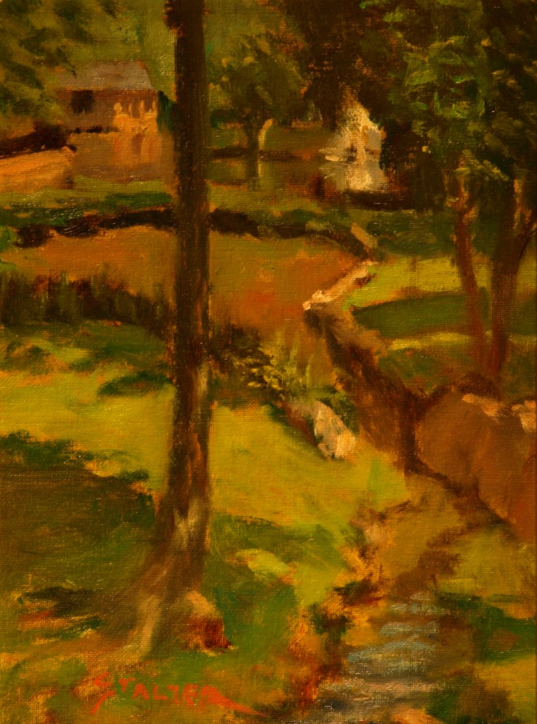 Fountain at Tilley Pond, Oil on Canvas on Panel, 12 x 9 Inches, by Richard Stalter, $225