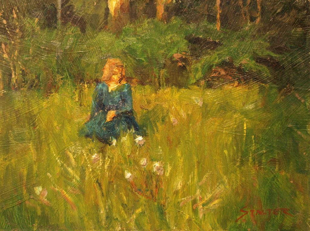 Girl in Field, Oil on Panel, 9 x 12 Inches, by Richard Stalter, $225