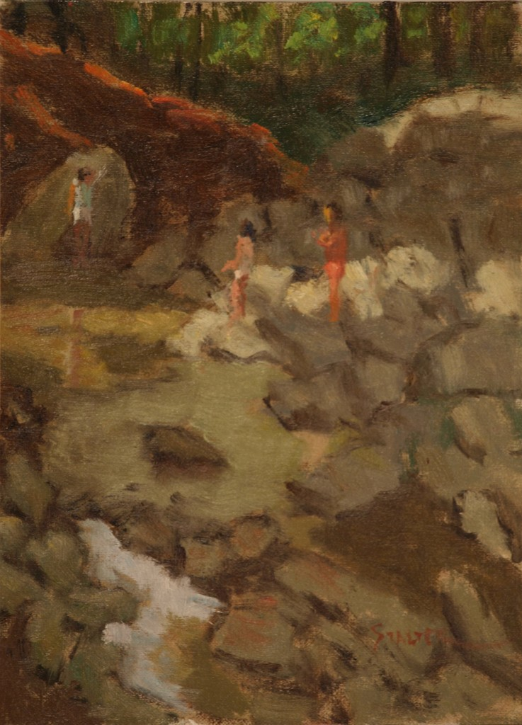Girls Crossing Rocks, Oil on Canvas on Panel, 9 x 12 Inches, by Richard Stalter, $225