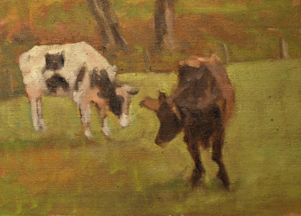 Grazing Duo, Oil on Canvas on Panel, 9 x 12 Inches, by Richard Stalter, $225