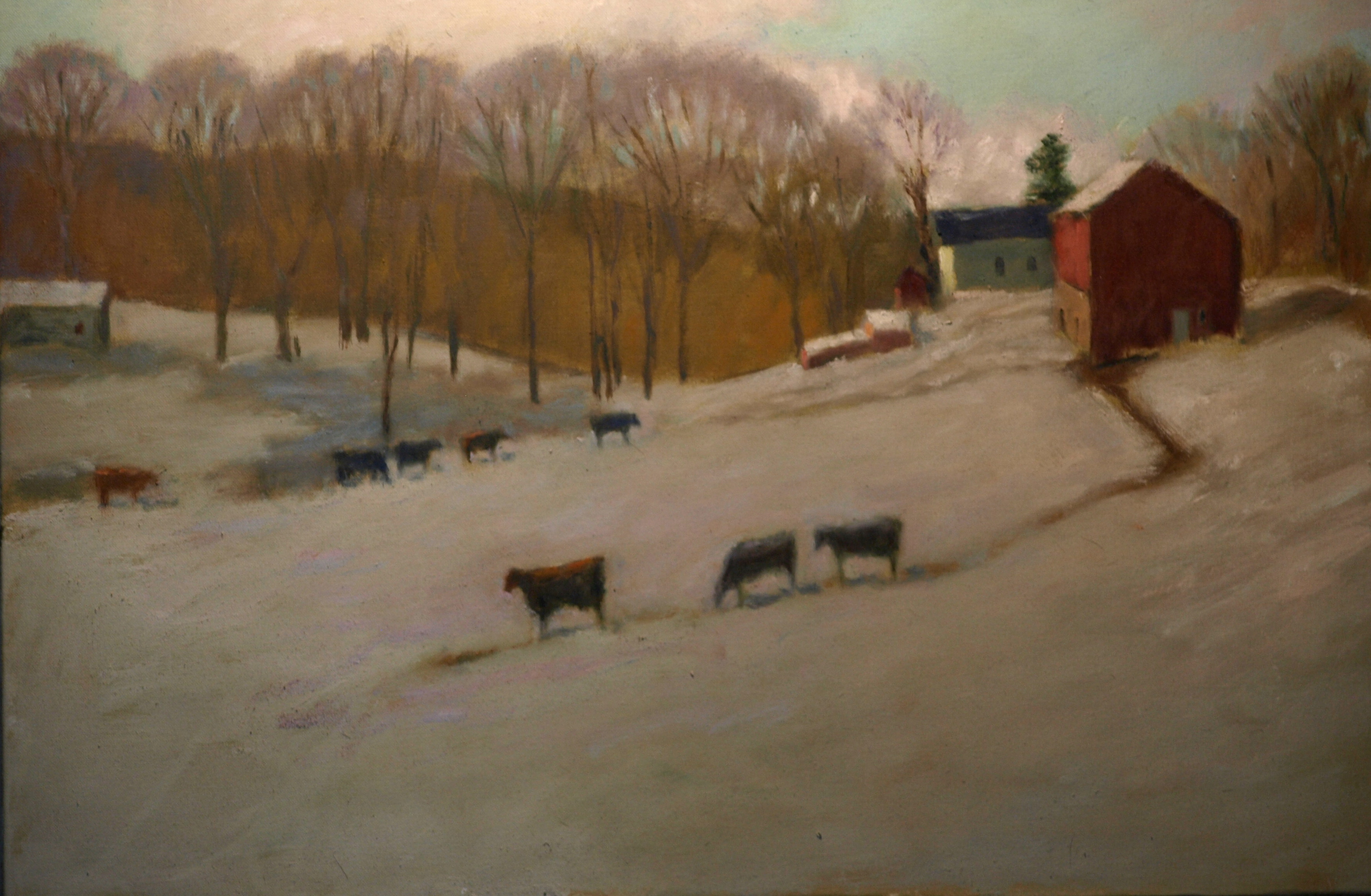 Hipp Farm -- Snowbound, Oil on Canvas, 24 x 36 Inches, by Richard Stalter, $1200