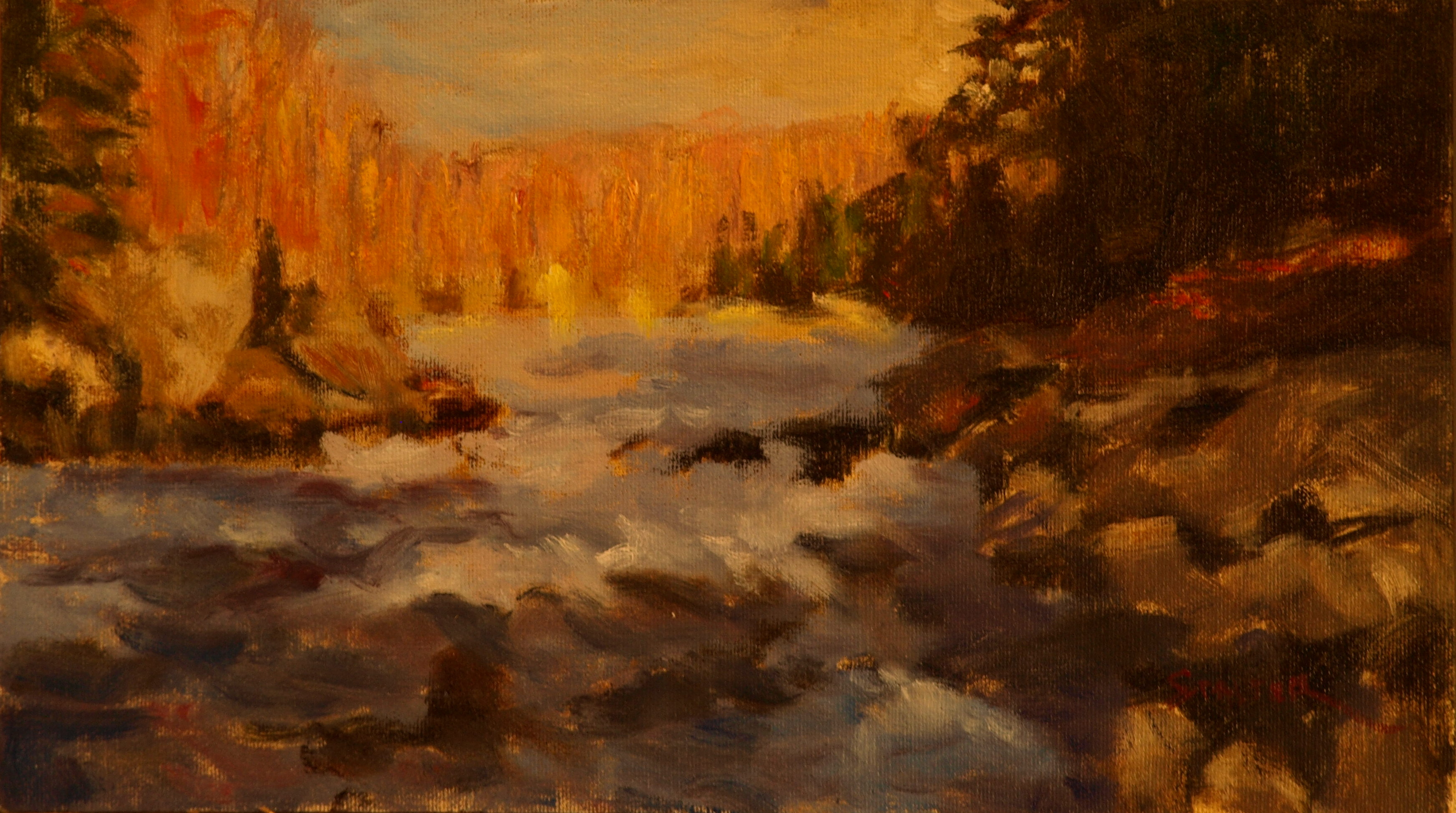 Housatonic Rapids, Oil on Canvas on Panel, 8 x 14 Inches, by Richard Stalter, $225